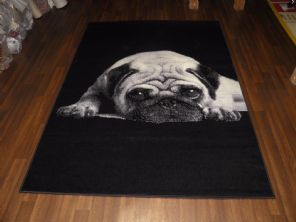 Modern Approx 7x5 150x210cm Woven Backed Pug Rugs Sale Top Quality Black/Grey